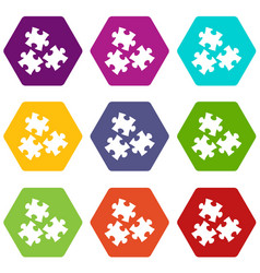 puzzle icon set color hexahedron vector image