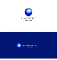 Royal blue diamond logo gem logotype vector
