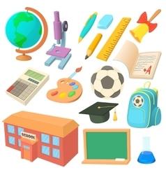 School icons set in cartoon style vector image