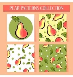 Seamless hand drawn pear patterns set vector image