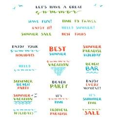 set of hand-drawn summer brush lettering vector image