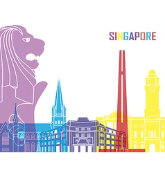 Singapore skyline pop vector image