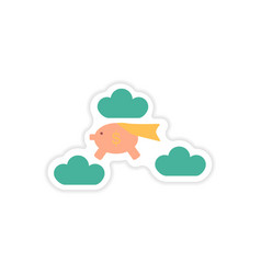 Stylish sticker on paper piggy bank in the clouds vector
