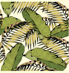 summer seamless pattern with tropical leaves and vector image