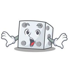 Surprised dice character cartoon style vector