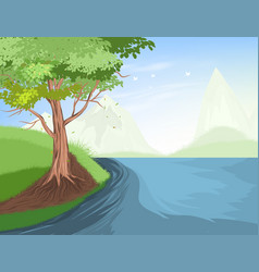 Tree and lake scene vector