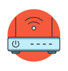 Wireless router flat line icon vector