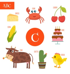 Letter c cartoon alphabet for children cake cow vector
