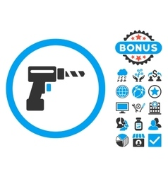 Drill flat icon with bonus vector