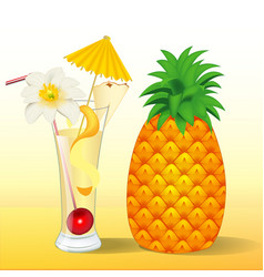 Pineapple juice in a glass with a flower vector