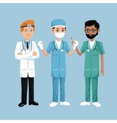 Set staff medical men health workers vector