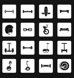 Balancing scooter icons set squares vector