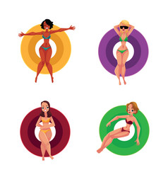 Black and caucasian girls women resting on vector