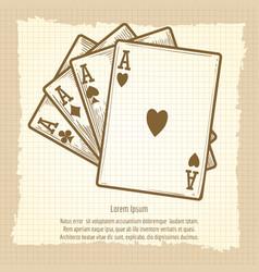 Four aces vintage poster vector