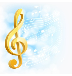 Musical background with golden key vector