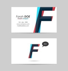 Business card template - letter f vector