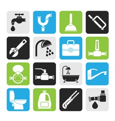 Silhouette plumbing objects and tools icons vector