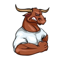 Bull mascot team label design vector