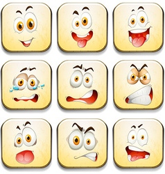 Facial expressions on yellow tiles vector