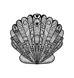 Zentangle stylized black sea shell hand drawn vector