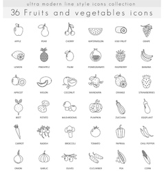 fruits and vegetables ultra modern outline vector image