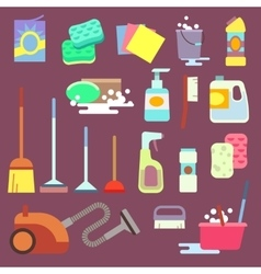 Cleaning maid equipment or service flat vector