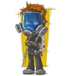 Cartoon redhead boy in gas mask vector