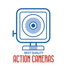 action camera line logo or label template vector image