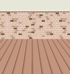 Brick balcony with wooden floor vector