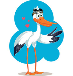 cartoon stork with aviator glasses baby card vector image vector image