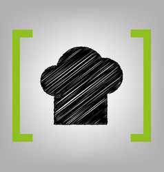 Chef cap sign black scribble icon in vector