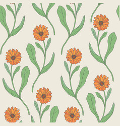Colorful seamless pattern with orange calendula vector