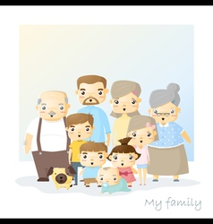 Cute family portrait big family background vector