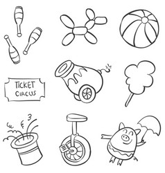 Doodle circus element hand draw vector
