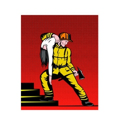 Fireman fire fighter carrying rescuing woman vector