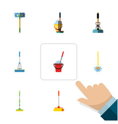 Flat icon broomstick set of equipment besom vector