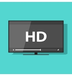 Flat screen tv with HD video label icon vector image vector image