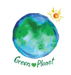 green planet watercolor style vector image vector image