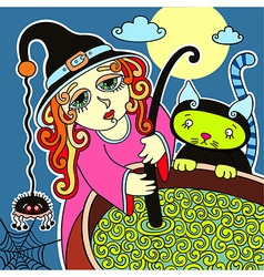 Halloween cute witch with black cat prepares potio vector