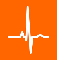 Heart rhythm ekg white icon vector