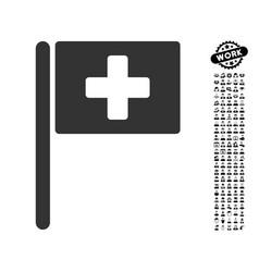 Hospital flag icon with work bonus vector