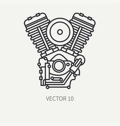 Line flat plain motorcycle icon classic vector