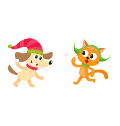 Little cat and dog characters playing snowballs vector