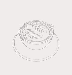 Matcha latte latte hot drink with latte art vector