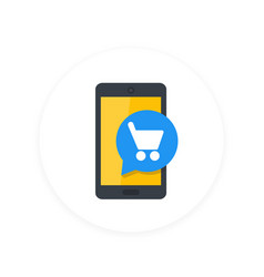 Mobile shopping smartphone and cart flat icon vector
