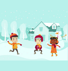Multicultural children playing snowball fight vector