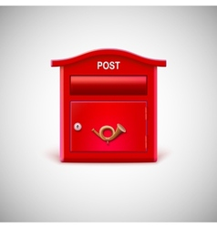 Red mailbox with the postal horn vector