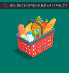red plastic shopping basket vector image vector image
