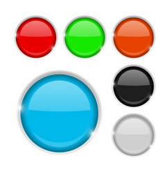 Round buttons colored set of 3d icons vector