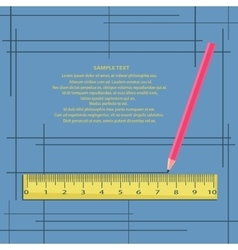 Ruler and pencil on a blue background with frames vector image vector image